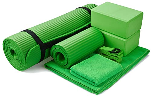 (BalanceFrom GoYoga 7-Piece Set - Include Yoga Mat with Carrying Strap, 2 Yoga Blocks, Yoga Mat Towel, Yoga Hand Towel, Yoga Strap and Yoga Knee Pad (Green, 1/2