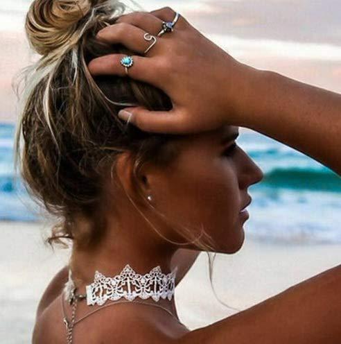 - Werrox Retro Boho Black Cord Tattoo Choker Elastic Stretch Necklace Bracelet Henna 90s | Model NCKLCS - 27073 |