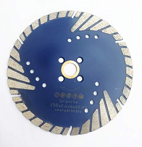 6 Inch Diamond Saw Blade Turbo Dry Cutting Continuous Rim with 7/8 to 5/8 Inch Arbor for Granite (Portable Dry Cutting Saw)