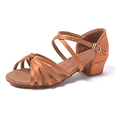 Hroyl Satin Dance Shoes Beige