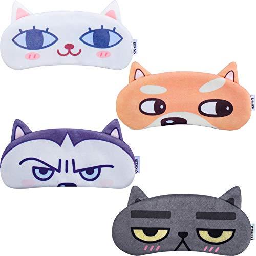 Boao 4 pieces Cute Eye Mask Sleep Masks Sleeping Mask for Kids Women Men