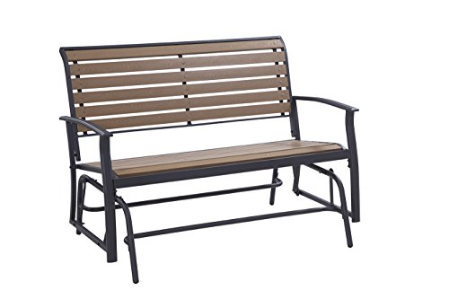 Garden Glider Double (Liberty Garden Patio SR-I-1139NDG Everwood Harrington Double Glider, Brown Brown)