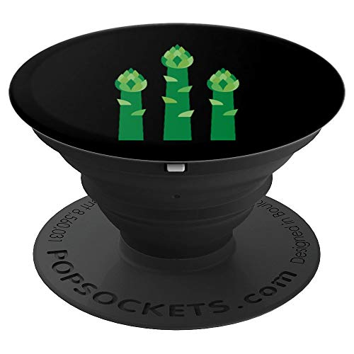 Cute Vegetarian PopSockets Grip Green Asparagus on Black - PopSockets Grip and Stand for Phones and Tablets