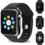 Smart Watch - 321OU Touch Screen Bluetooth Smart Watch Smartwatch Phone Fitness Tracker SIM SD Card Slot Camera Pedometer Compatible iPhone iOS Samsung LG Android for Men Women Kids (Black)