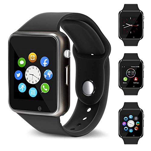 321OU Smart Watch Fitness Tracker Bluetooth Smart Watch Smartwatch Phone Fitness Tracker SIM SD Card Slot Camera Pedometer iPhone iOS Samsung LG Android Men Women Kids (New Black) by 321OU (Image #1)