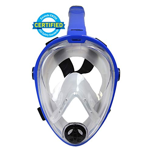 (Deep Blue Gear Vista Vue Full Face Snorkeling Mask, Black/Clear Silicone, Large/X-Large )