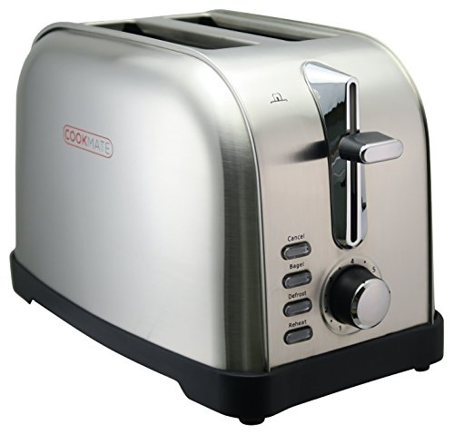 Buy Discount Cookmate Classic Stainless Steel 2-Slice Toaster - 7 Temperature Level - Extra Wide Slo...