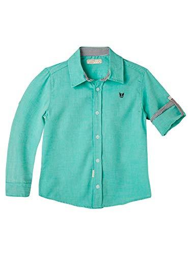 OFFCORSS Little Kid Long Sleeve Button Down Collared Green 3T