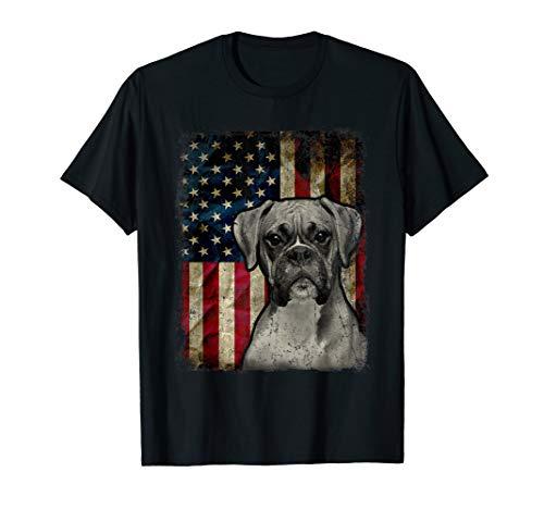 July Dog T-shirt - Boxer Dog 4th of July American Flag patriotic Gift T-Shirt