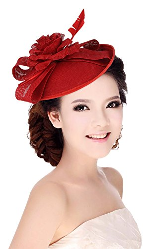 La Vogue Women Sinamay Flower With Hair Clip Fascinator Feather Tea Party Derby Red