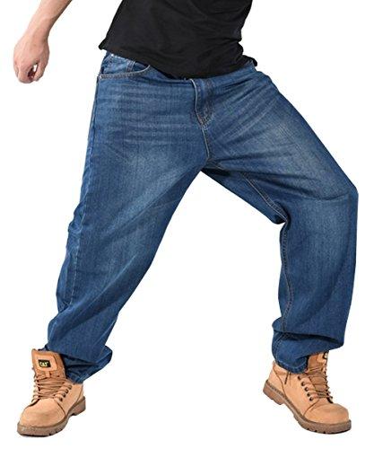 QIBOE Men's Hip-hop Skateboard Loose Plus Size Jeans Denim
