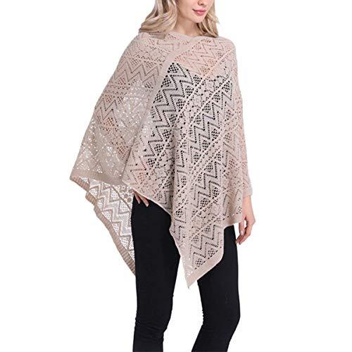Poncho Femme Printemps Automne Elgante Unicolore Baggy Perspective Cape Chale Le Chale Haut Fille Vtements Tops Dentelle Beige