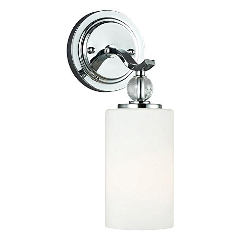 Sea Gull Lighting 4113401-05 Englehorn - One Light Wall/Bath Bar, Chrome Finish with Etched/White Glass