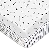 TL Care TL Care 2 Pack Printed 100% Cotton Jersey Knit Fitted Pack N Play Playard Sheet, Silver Black Arrow/Stripe, for Baby boy and Baby Girl For Sale