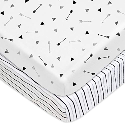 TL Care 2 Piece Printed 100% Cotton Jersey Knit Fitted Pack N Play Playard Sheet, Silver Black -