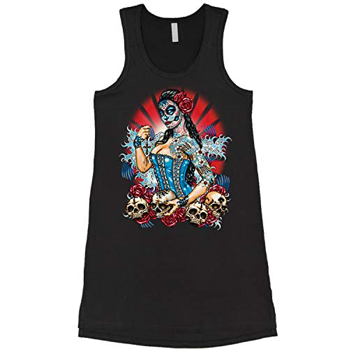 48fe33bd2e61cf Expression Tees Dress Pinup Day of The Dead Skull Roses Ladies Medium Black