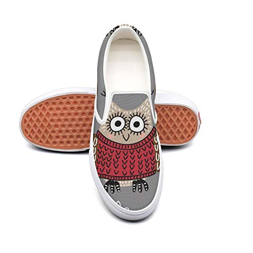 Funny cute owls gray background white Ladies Sneakers for Women cute Breathable and Lightweight Running Shoes