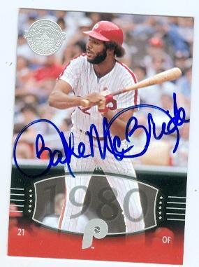 Bake McBride autographed baseball card (Philadelphia Phillies) 2004 Upper Deck Legends #191 Timeless Teams 1980
