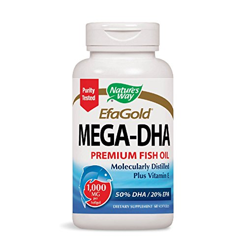 Nature's Way EfaGold MEGA-DHA Premium Fish Oil + Vitamin E, 1000mg, 60 Count (The Best Dha Supplement)