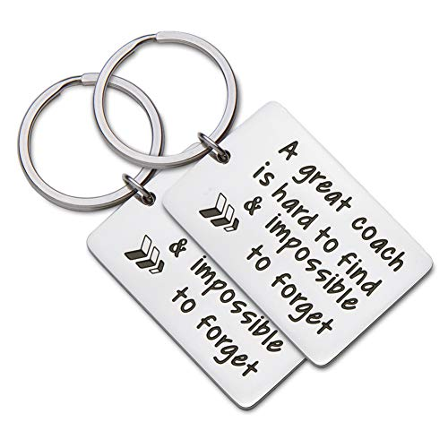 Coach Gifts Keychain 2Pcs Football Soccer Basketball Swimming Baseball Cheer Coach Gifts for a Coach A Great Coach is Hard to Forget Christmas Birthday Gifts for Men -