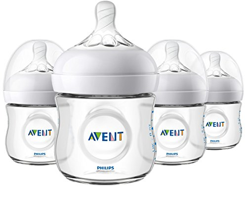 Philips Avent Natural Baby Bottle, Clear, 4oz, 4pk, SCF010/47 ()