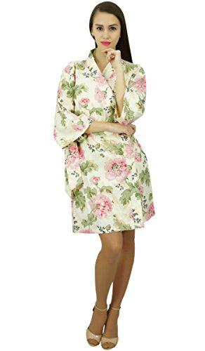 Amoghah Cortocircuito Del Algodón Floral Blanco Trajes De Novia Dama De Conseguir Listo Encubrimiento Blanco y verde