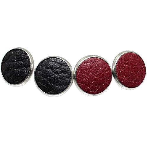 Set of Genuine Leather Stud Earrings, 13mm Round Stainless Steel Bezels, Two Pairs, Black/Cherry Red (Lava) ()