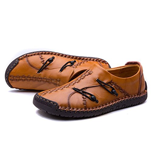 SlippersMen's Leather Hand Stitching Stylish Loafers Non-Slip Sneaker Boat Casual Slip On Shoes