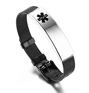 JF.JEWELRY Stainless Steel Medical ID Alert Bracelet for Women Adjustable Free Engraving