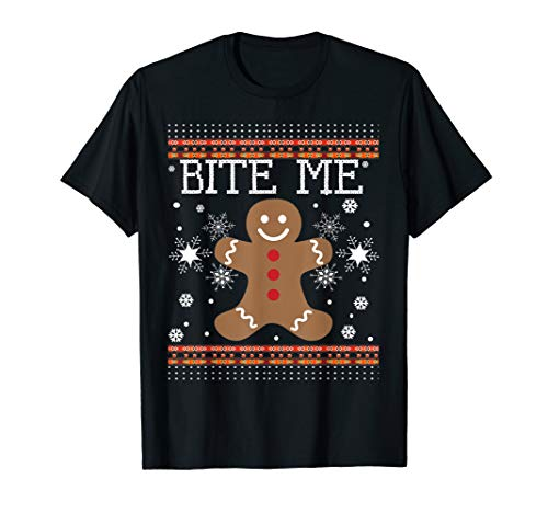 Gingerbread Man Costumes For Adults - Funny Ugly Christmas Sweater Bite Me
