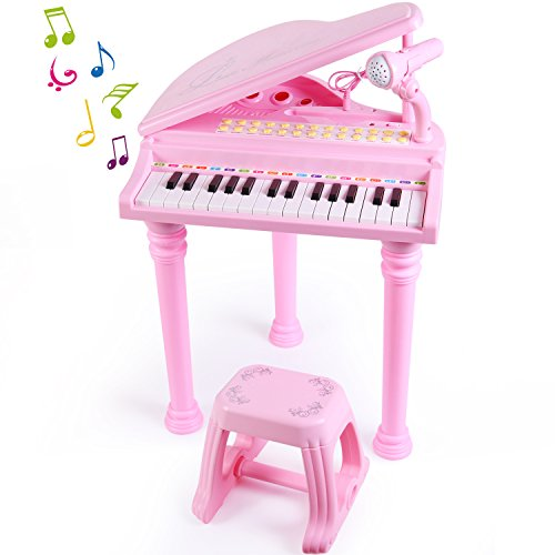 Set Instrument Player (SGILE 31 Keys Musical Piano Toy with Microphone and Stool, Learn-to-Play for Girl Toddlers Kids Singing Music development, Audio link with Mobile MP3 IPad PC,Pink)