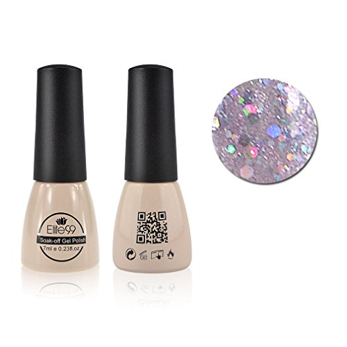 Qimisi Soak-Off UV LED Gel Polish Nail Art New Bling Colours Manicure Lacquer 7ml Glitter Thistle