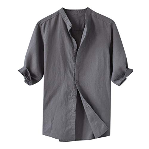 GDJGTA Top for Mens Breathable Solid Color Button Cotton Shirt Five-Point Sleeve Sleeve Top Gray]()