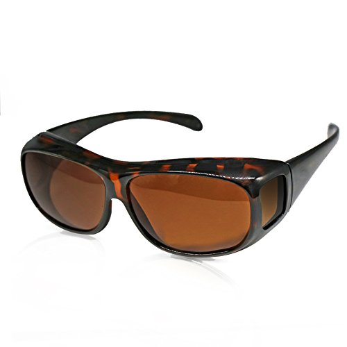 Solar Shield Fits over Glass Sunglasses for Driving Flying Boating Fishing and Snowing by Yonovo,Leopard