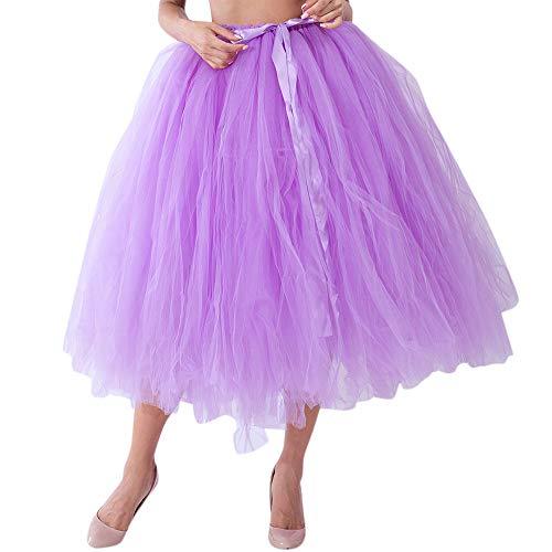 MISYAA Tutu Skirts for Women, High Waisted Pleated Tutu Skirts Wedding Bridesmaid Tulle Skirt Mesh Cute Maternity Skirt Light Purple