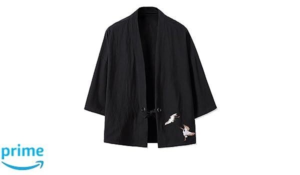 2e47f4031 YOUMU Men Japanese Kimono Cardigan Cranes Embroidery Jacket Vintage Loose  Japanese Yukata Coat Top Plus Size: Amazon.com.au: Fashion