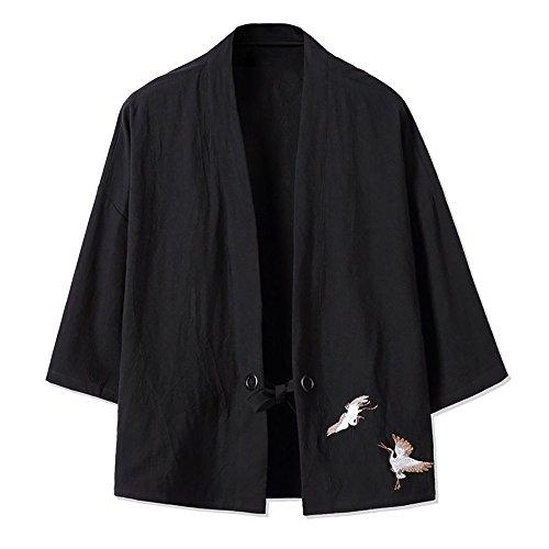 YOUMU Men Plus Size Japanese Kimono Style Cranes Embroidery Jacket Vintage Loose Japanese Yukata Coat Top (Style Wool Jacket)