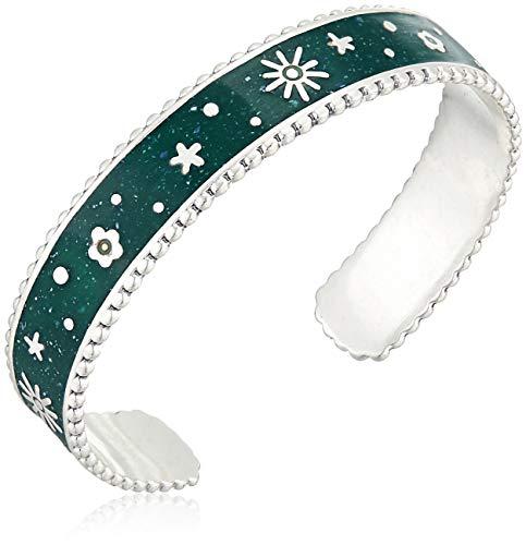 Lucky Brand Women's Green Enamel Silver Floral Inlay Cuff Bracelet, Silver, One Size
