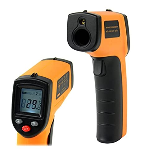Infrared Thermometer Digital Laser IR Temperature Meter Handheld Non-contact Tester with LCD Display Screen (-58 - 716℉/-50 - 380℃) Yellow and (Animal Temperature Controller)