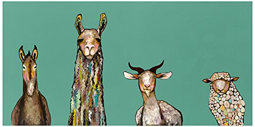 GreenBox Art + Culture Donkey, Llama, Goat, Sheep on Teal by Eli Halpin Canvas Wall Art, 36'' by 18'' by GreenBox Art + Culture