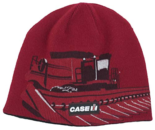 (Case IH Reversible Tractor Print Knit Beanie - Officially Licensed Red)