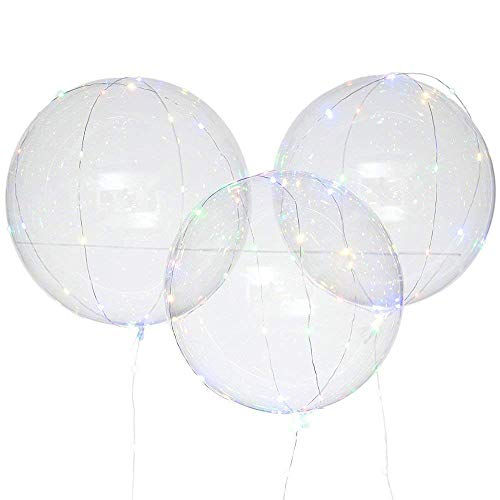 GONGting Led Light Up Balloon Transparent Round Bubble Colorful, Reusable Luminous Led,Fillable Light up Balloons with Helium, Great for Christmas Party, House Decorations,Amazing Party (Multicolor) -