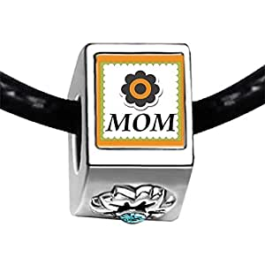 Chicforest Silver Plated MOM daisy in a square Photo Blue Aquamarine Crystal March Birthstone Flower Charm Beads Fits Pandora Bracelet