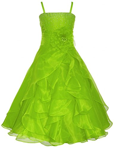 Lily Rhinestone (Wonder Girl Lily Big Girls' Organza Tea Length Long Rhinestone Dress 12)