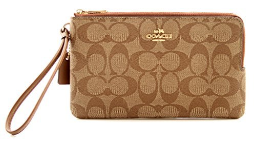 COACH Signature Coated Canvas Double Zip Wallet in Khaki