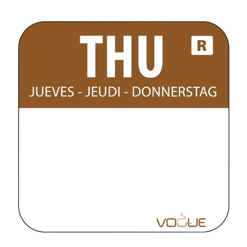 """1"""" Colour Coded Brown Thursday Food Safety Day Labels Food Rotation System Catering Hygiene Home Kitchen Restaurant Storage Thursday - Brown. 1000 labels per roll Vogue"""