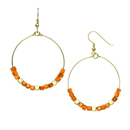 - 14K Gold, Rose Gold, or Rhodium Plated Cube Glass Bead Hoop Earrings with 8 Color Options, 30mm