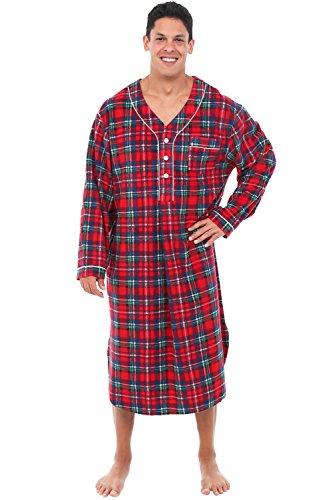 Alexander Del Rossa Men's Warm Fleece Sleep Shirt, Long Henley Nightshirt Pajamas, Small Red and Green Plaid (A0329Q19SM)