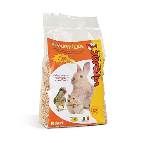 Virosac 140042 Eco-Friendly Litter for Rodents, Reptiles and Birds. Natural and Biodegradable Product, L, Beige