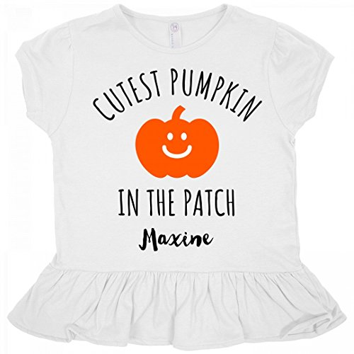 Halloween Cutest Pumpkin Maxine: Toddler Rabbit Skins Ruffle Fine Jersey Tee (Maxine On Halloween)